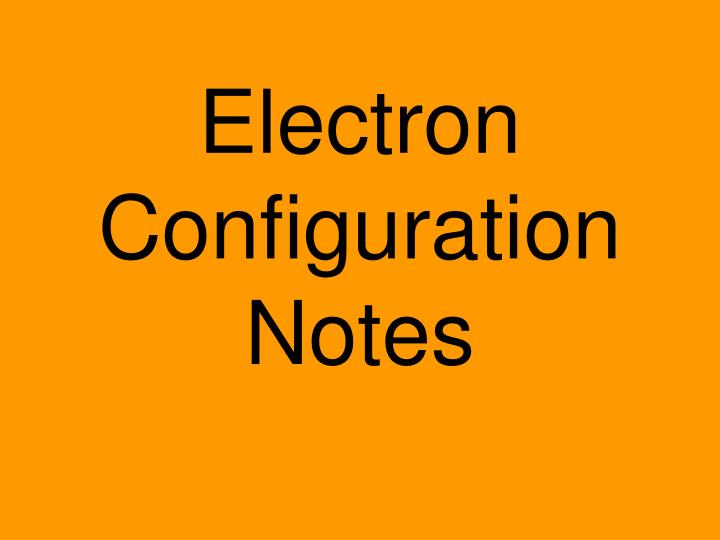 electron configuration notes n.