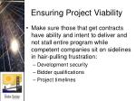 ensuring project viability