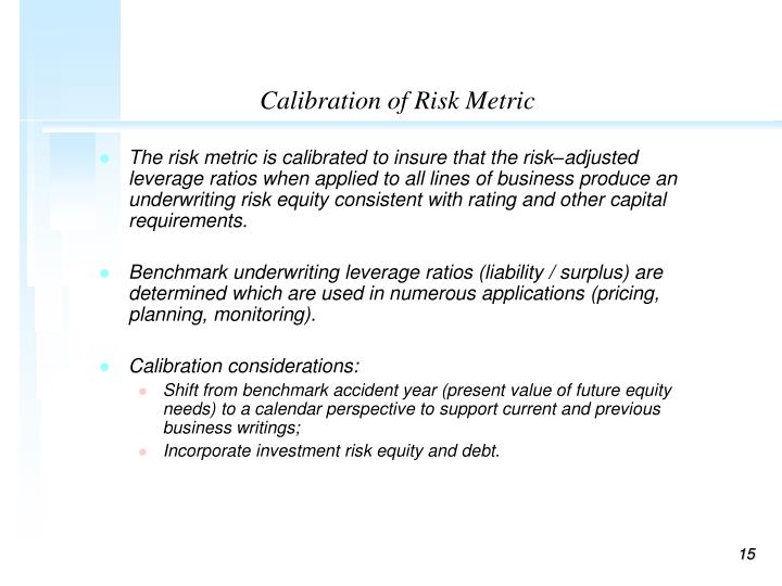 Calibration of Risk Metric