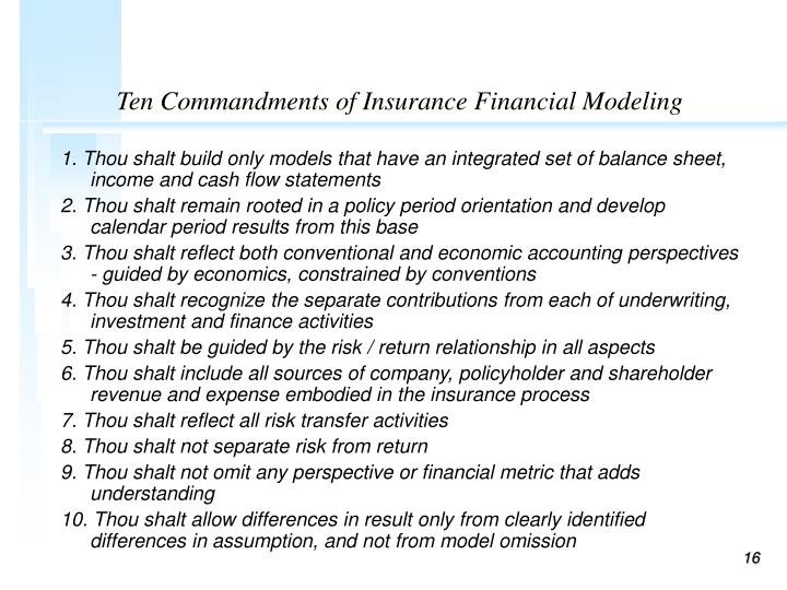 Ten Commandments of Insurance Financial Modeling