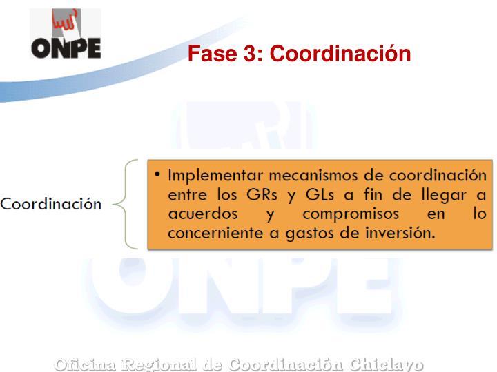 Fase 3: Coordinación