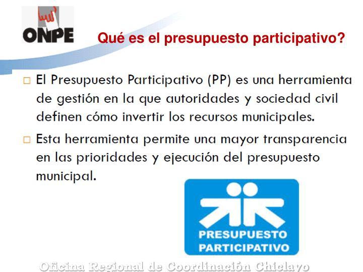 Qué es el presupuesto participativo?