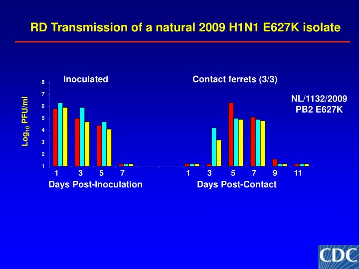 RD Transmission of a natural 2009 H1N1 E627K isolate