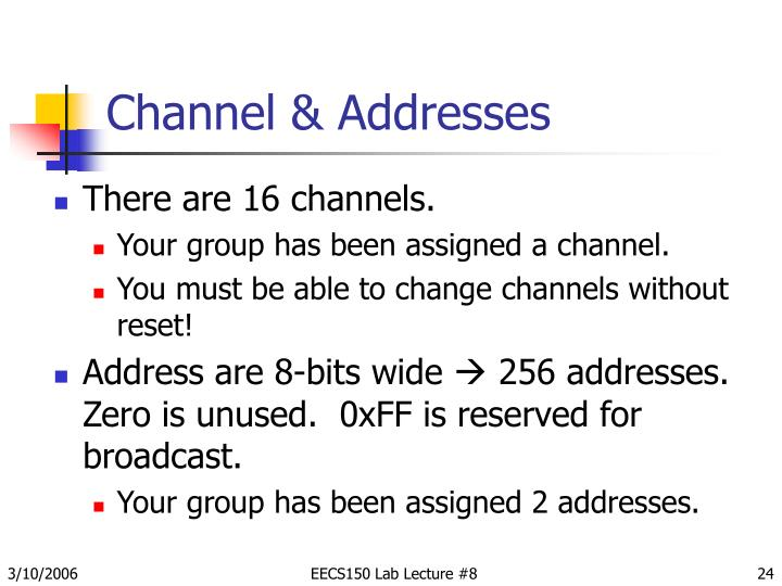 Channel & Addresses
