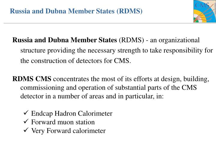 Russia and dubna member states rdms