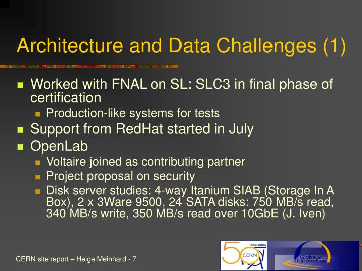 Architecture and Data Challenges (1)