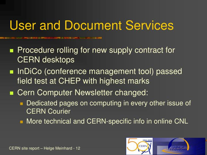 User and Document Services