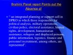 brahimi panel report points out the absence of