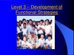 level 3 development of functional strategies