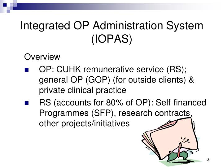 Integrated op administration system iopas