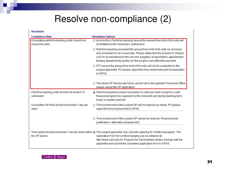 Resolve non-compliance (2)