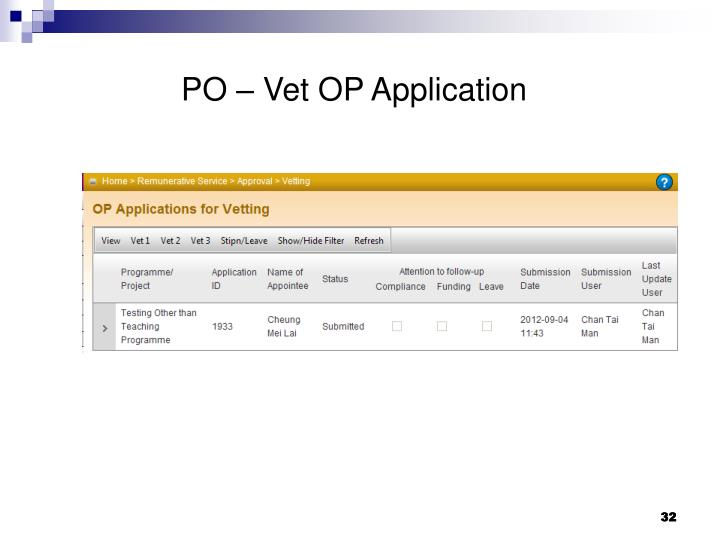 PO – Vet OP Application
