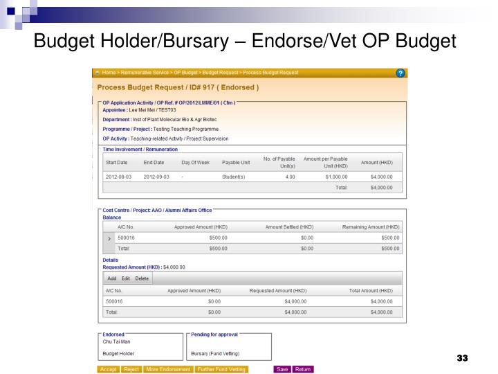 Budget Holder/Bursary – Endorse/Vet OP Budget