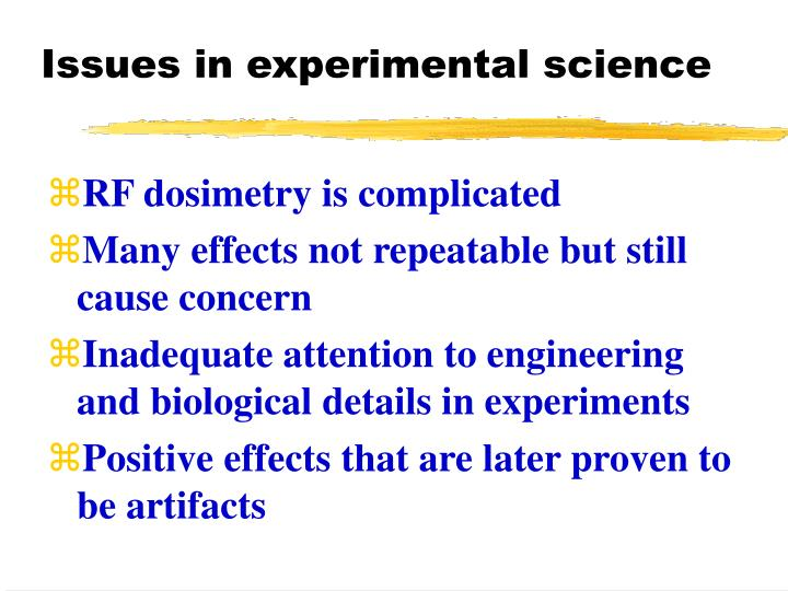 Issues in experimental science
