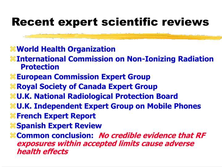 Recent expert scientific reviews
