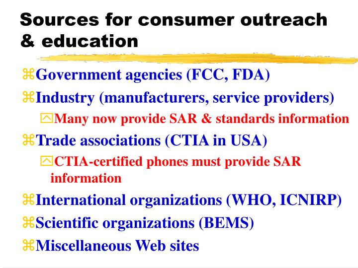 Sources for consumer outreach & education