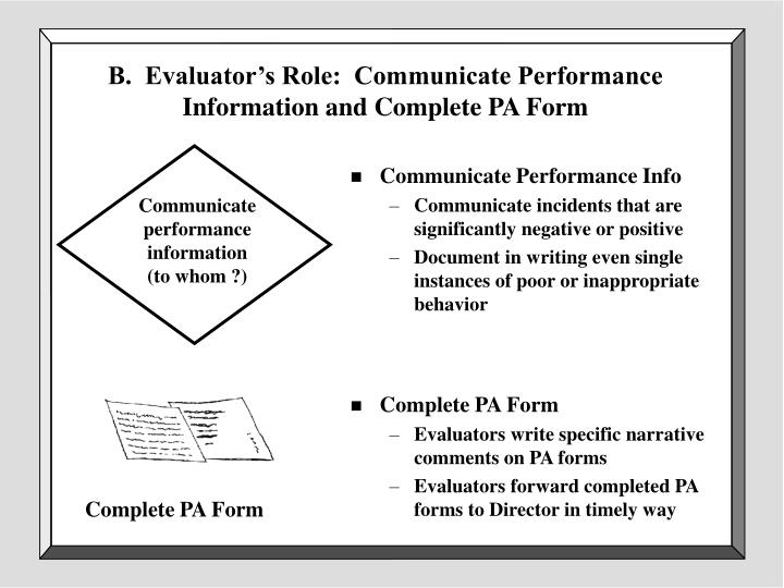 B.  Evaluator's Role:  Communicate Performance Information and Complete PA Form
