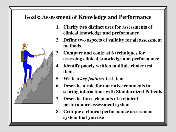 Goals assessment of knowledge and performance
