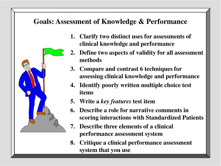 Goals: Assessment of Knowledge & Performance