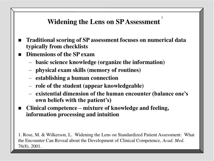 Widening the Lens on SP Assessment