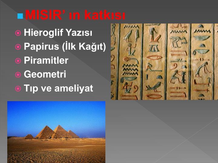 MISIR' ın katkısı