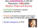 key commitments in un sc resolution 1325 2000 women peace and security