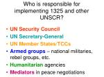who is responsible for implementing 1325 and other unscr