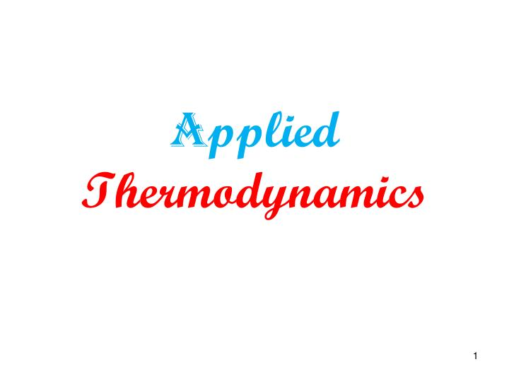 a pplied thermodynamics n.