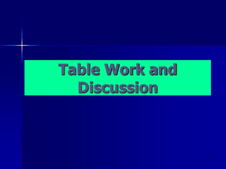 Table Work and Discussion