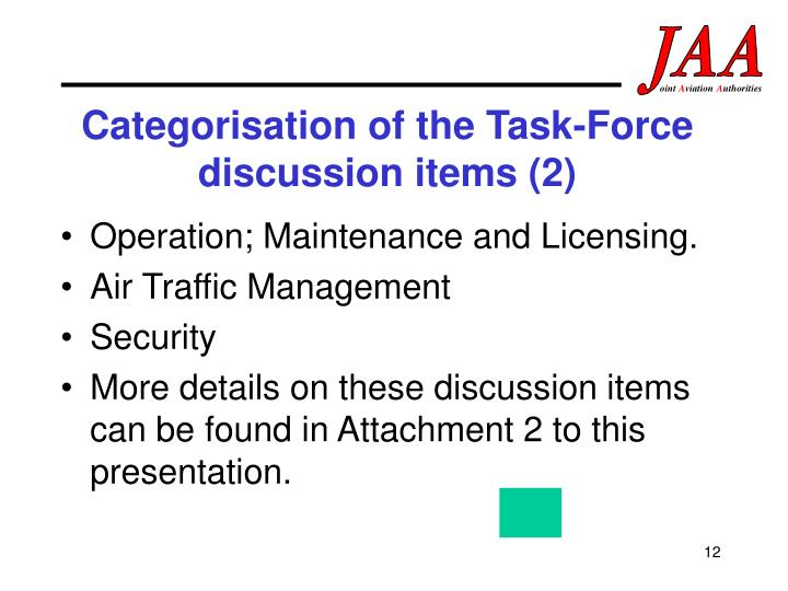 Categorisation of the Task-Force discussion items (2)