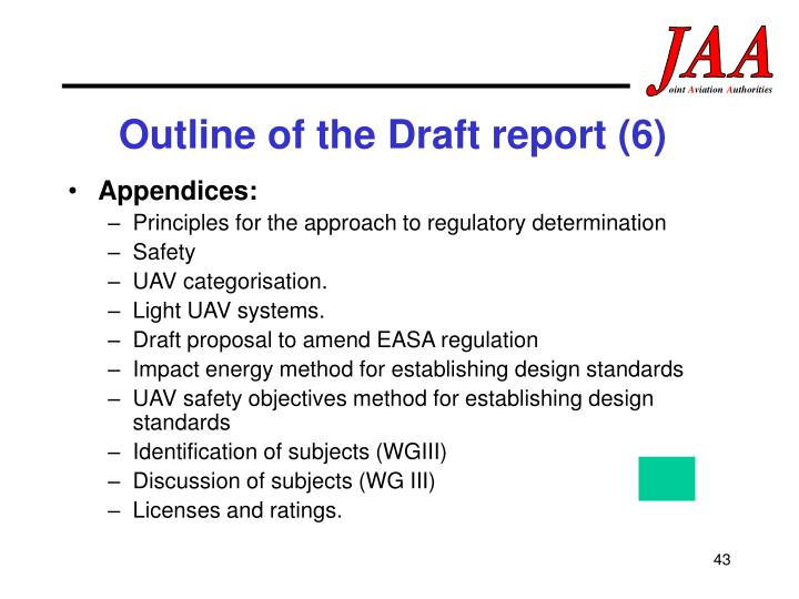 Outline of the Draft report (6)