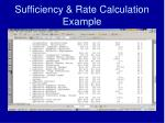 sufficiency rate calculation example