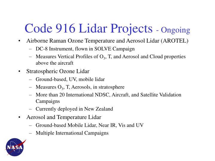 Code 916 Lidar Projects