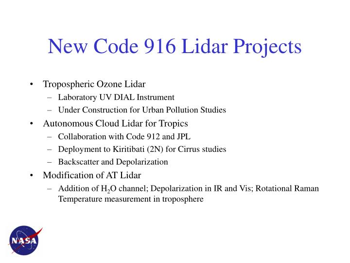 New Code 916 Lidar Projects