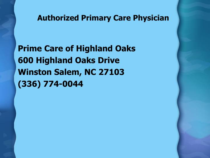 Authorized Primary Care Physician