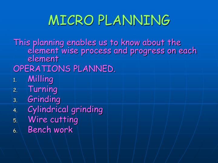 MICRO PLANNING