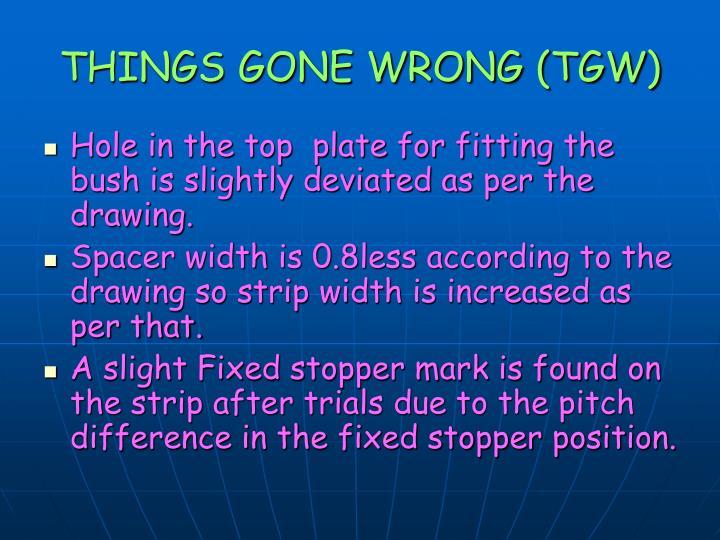 THINGS GONE WRONG (TGW)
