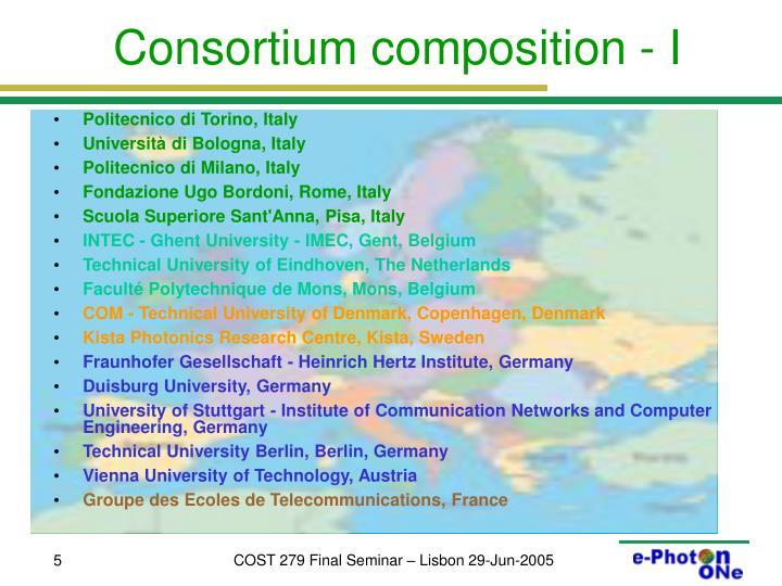 Consortium composition - I