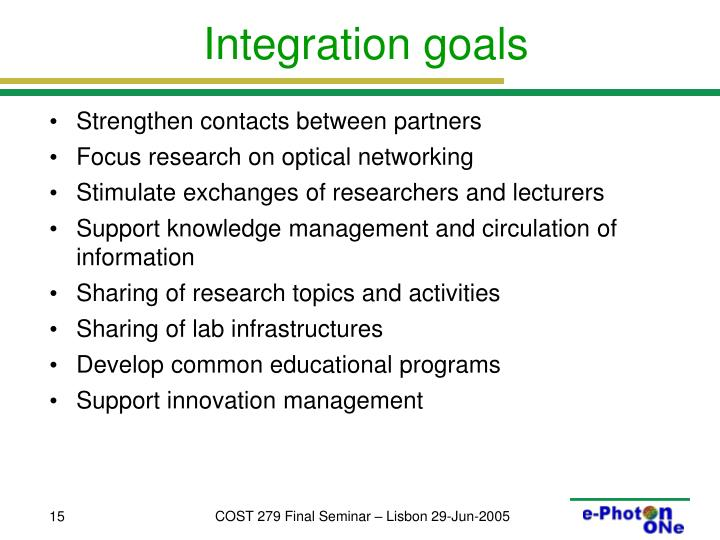 Integration goals