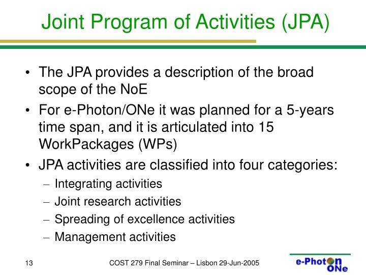 Joint Program of Activities (JPA)