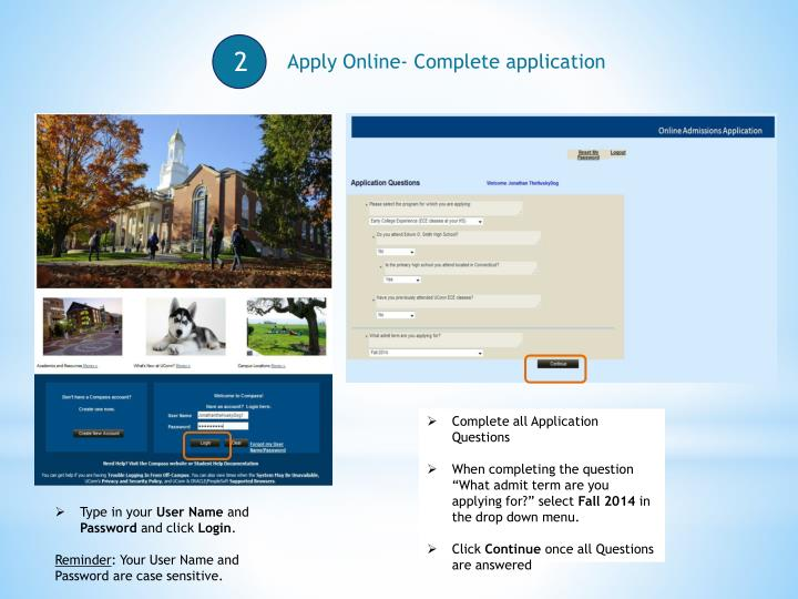 Apply Online- Complete application