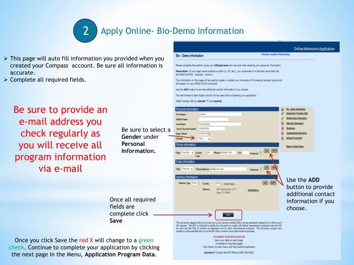 Apply Online- Bio-Demo Information