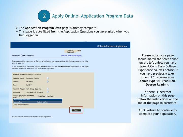Apply Online- Application Program Data