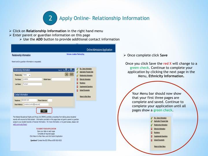 Apply Online- Relationship Information