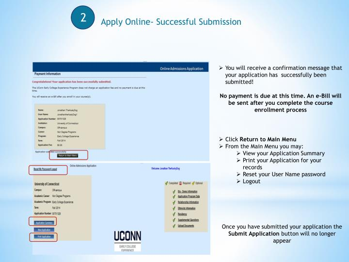 Apply Online- Successful Submission