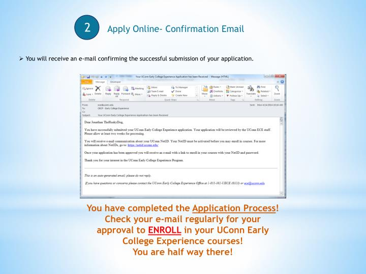 Apply Online- Confirmation Email