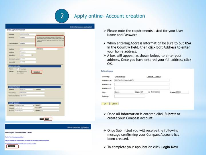 Apply online- Account creation