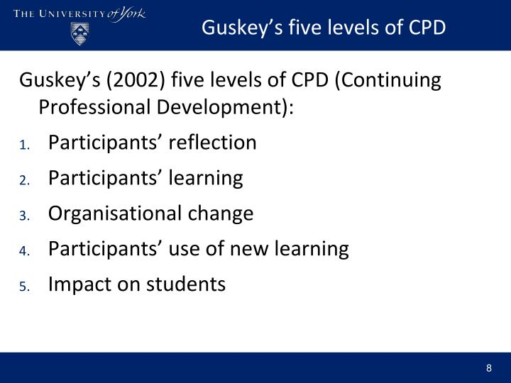 Guskey's five levels of CPD