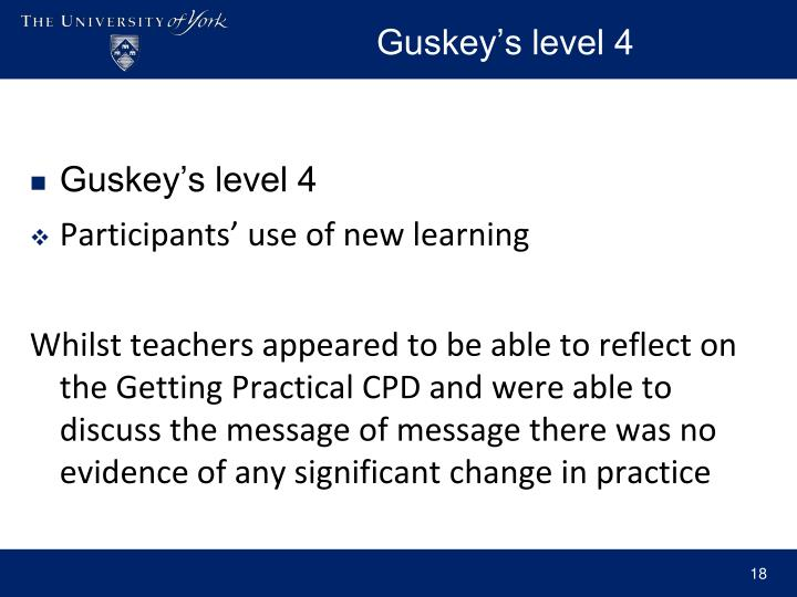 Guskey's level 4