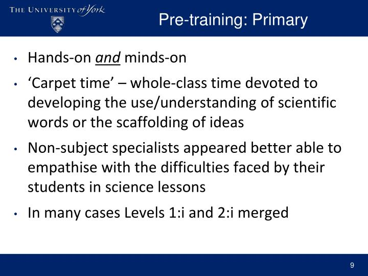 Pre-training: Primary